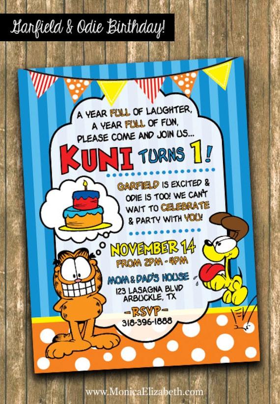 Garfield Odie Birthday Party Invitation Twin Birthday Etsy