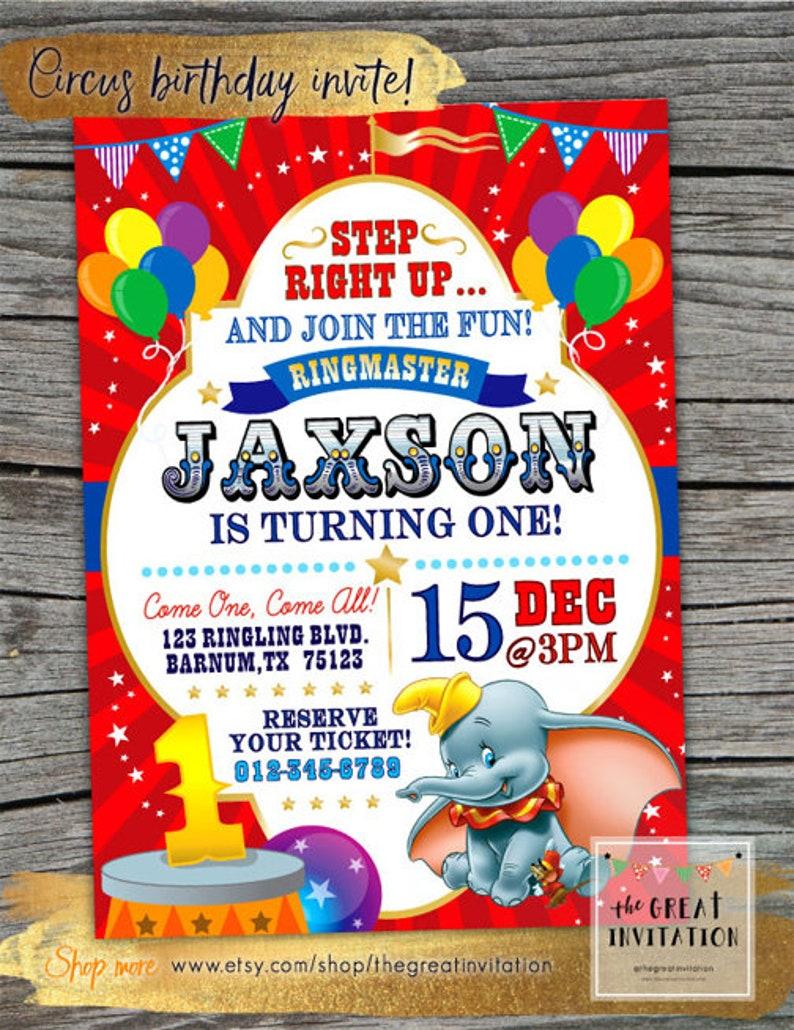 Circus Birthday Invitation Dumbo