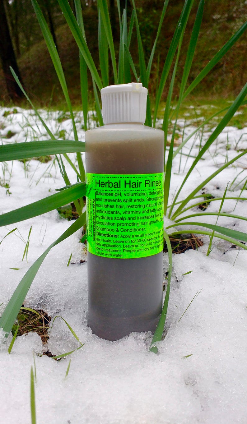 Organic Herbal Hair Rinse- Vegan, Raw- Shampoo and/or Conditioner  replacement, free of harsh soap and detergents, pH Balancing