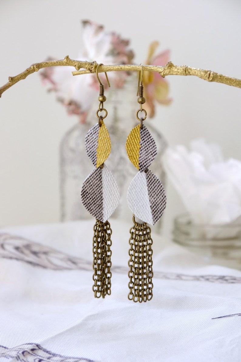 Modernurban chicgold whiteleafdenimtassel chainlong dangly earrings.JE99-016