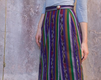 Wrap Midi Skirt, Handwoven, Ikat Cotton - Pahn Wrap Skirt | Darya
