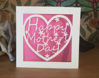 Mother's Day Card  - Papercut - Mum - Mummy - Mom -  Mam -  Nan - Aunty - Mother's Day Heart