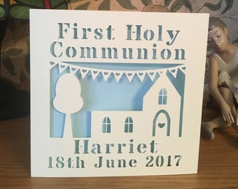 First Holy Communion Card - Papercut - Personalised - 1st Holy Communion - Personalized - First Communion Card - 1st Communion Card