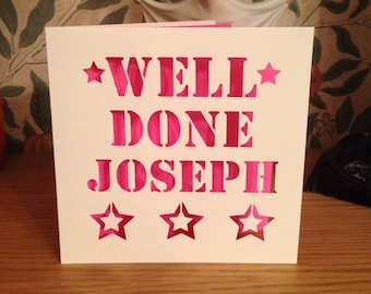 Well Done Personalised Card - Papercut - New Job - Exams - Driving Test - A Levels - GCSE's - Degree - Graduation - Promotion - Personalized