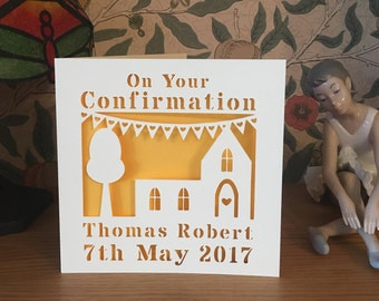 Confirmation Card  - Papercut Card - Personalised Card
