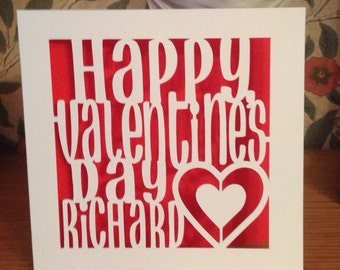 Personalised  Valentine's Day Card Papercut -  Valentines Day - Husband - Wife - Girlfriend - Boyfriend - Gay - Lesbian - For Him - For Her