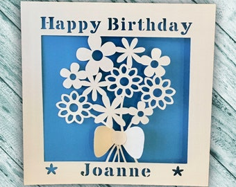 Papercut - Personalised Birthday Card - Birthday Card - Happy Birthday - Personalized Card - Flower Bouquet Card - Mum - Aunt - Sister -