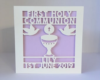 First Holy Communion Card - 1st Holy Communion - Papercut - Personalised