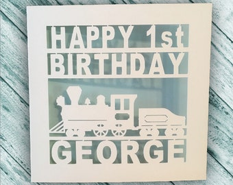 Train Birthday Card - Papercut - Personalised 1st - 2nd - 3rd - 4th - 5th - 6th - 7th - 8th - 9th - Son - Daughter - Dad - Grandad