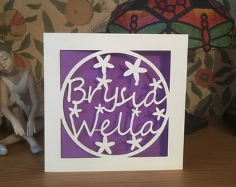 Brysia Wella - Get Well Soon Card - Welsh Language Card - Papercut  - Unwell - Decorated with Flowers