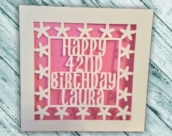 Papercut - Personalised Birthday Card -   1st 13th 16th 18th 21st 30th 40th 50th 60th 70th  75th 80th 90th 100th Birthday Card