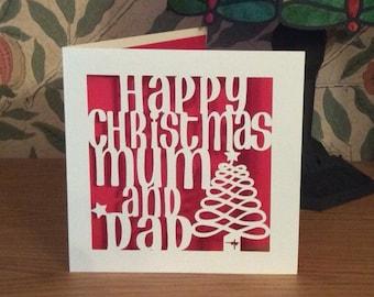 Papercut - Christmas Card - Mum and Dad Christmas Card - Xmas Card - Happy Christmas Mum and Dad - Merry Christmas - Happy Holidays