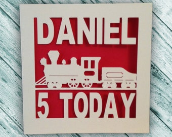 Train Birthday Card - Papercut - Personalised 1st - 2nd - 3rd - 4th - 5th - 6th - 7th - 8th - 9th - 10th Birthday Card - Train Birthday Card