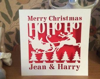 Papercut - Personalised  - Merry Christmas Card - Father Christmas Card - Xmas Card - Happy Christmas Card - Happy Holidays Card - Custom