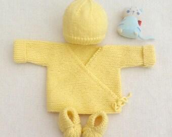 baby hat hat slippers, knitting, layette, yellow bra, birth gift, birth set, baby set