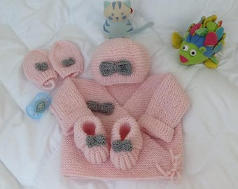 life jacket baby bonnet booties mittens knitting wool