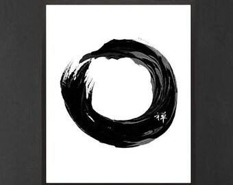 Japanese Art Print Enso Symbol Meditation Print Art Black and White Typographic Illustration Wall Art Oriental Printable Home Decor Poster