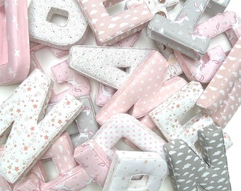 Fabric Letters, PRICE PER LETTER, Initial, Nursery Room Decor, Personalized baby Gift, Baby Shower, Christening, baby gift, baby gift