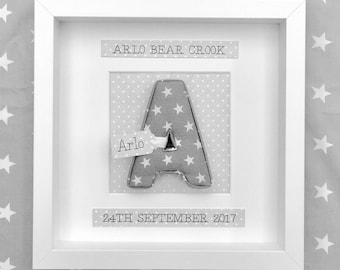 Framed Fabric Padded Letter, Baby Name, Birth Date, Initial, Personalised Name Gift, Baby Shower, Christening, Baptism, new baby gift