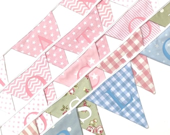 PERSONALISED BUNTING baby gift, new baby, christening, baptism, nursery, nursery accessories, flags