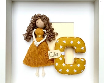 Framed Letter and Macrame Doll, Baby Name, Initial, Personalised Name Gift, Baby Shower, macrame doll, Christening, Baptism, new baby gift
