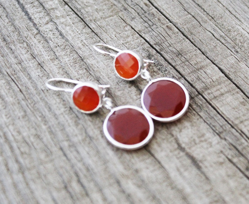 Red Stone Earrings Dangle Earrings Handmade Jewelry Gemstone Earrings Silver Earrings Dainty Hammered Earrings Red Onyx Earrings