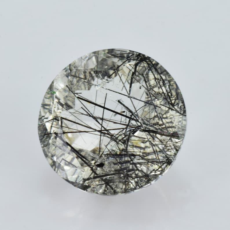 QZBLK-1018 Rutilated Quartz 9.40 cts Natural Black Rutilated Quartz 15x15x9.4 mm Faceted Round Loose Gemstone Natural Rutilated Quartz