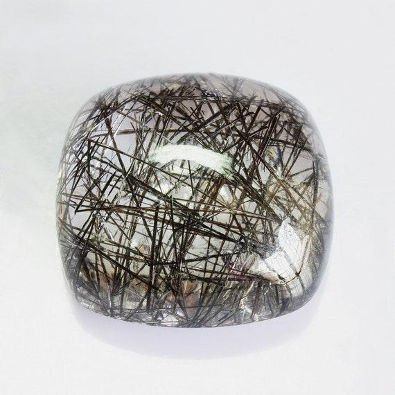 Natural Rutilated Quartz Gemstone 14x14x6.5 mm Black Rutilated Quartz Cabochon Cushion 10.22 cts 1 Piece Loose Gemstone RLBLK-1012