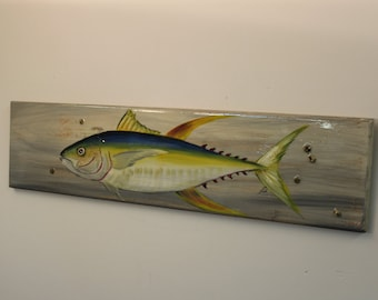 Yellow Fin Tuna - handpainted on distressed look cypress wood with barnacles