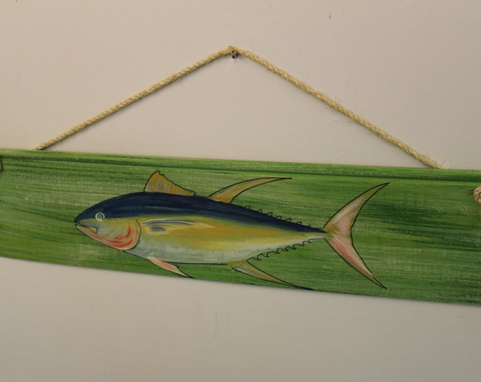Yellowfin Tuna Silhouette - cypress wood rope sign