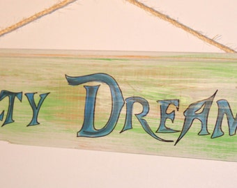 Salty Dreams, cypress wood sign with rope hanger