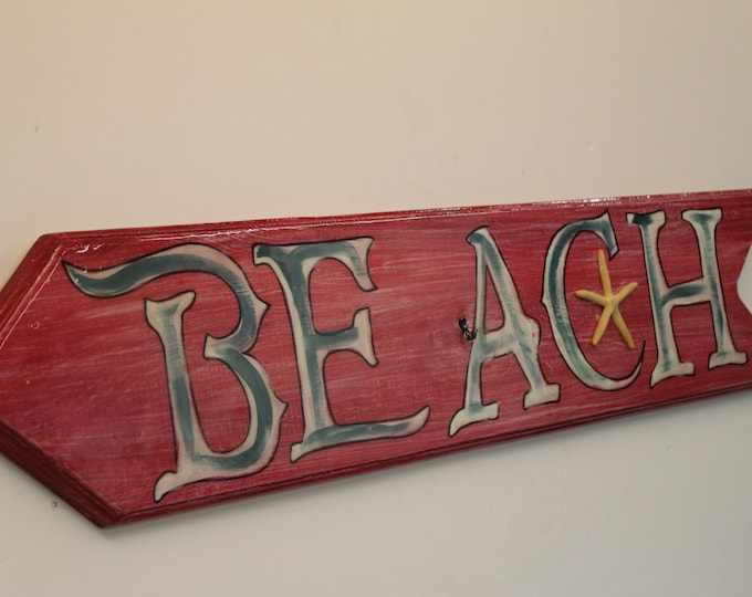 Beach Arrow Sign - directional arrow sing handpainted on cypress wood
