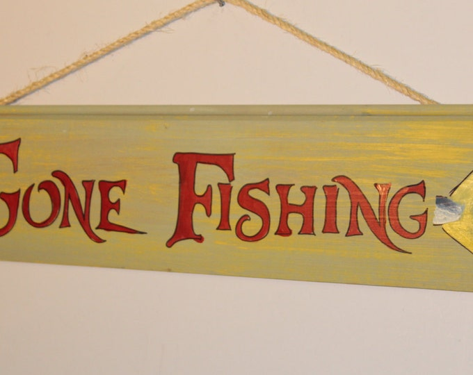 Gone Fishing - cypress wood sign with rope hanger