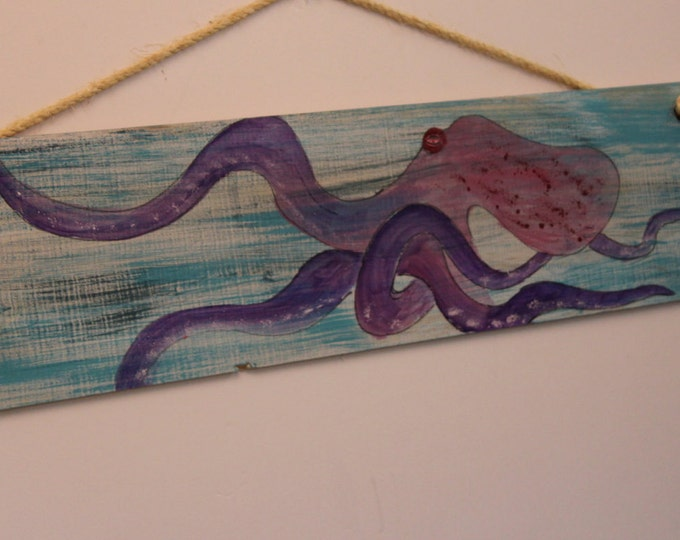 "OCTOPUS - Handpainted ""Octopus"" on distressed cypress wood plank."