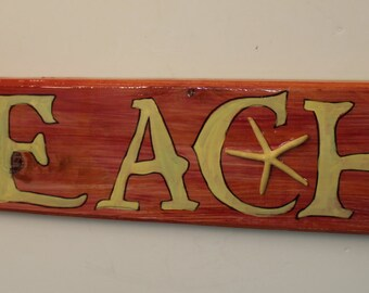BEACH - arrow handpainted wood sign