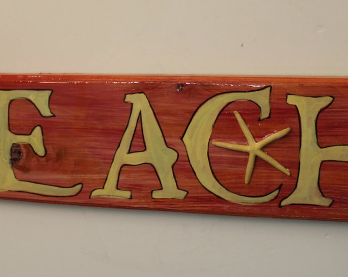 BEACH - arrow handpainted wood sign