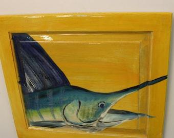 BLUE MARLIN - Handpainted marlin on reclaimed wood door with high gloss finish.