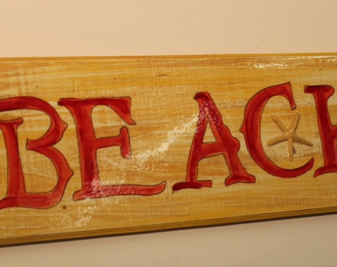 BEACH - handpainted sign on cypress wood with starfish