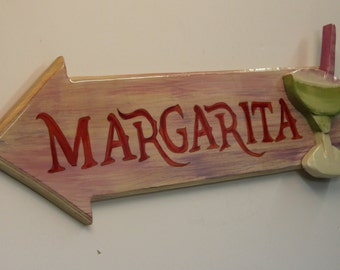 MARGARITA - Handpainted sign with handcarbed margarita glass attached to face of sign with high gloss finish.