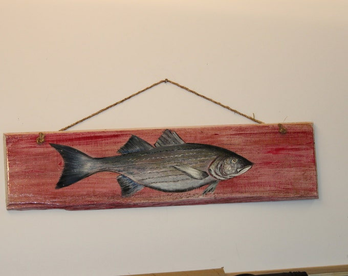Striped Bass - handpainted on weatherd looking cypress wood with rope hanger