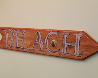Beach- Directional cypress wood sign with sea shells.