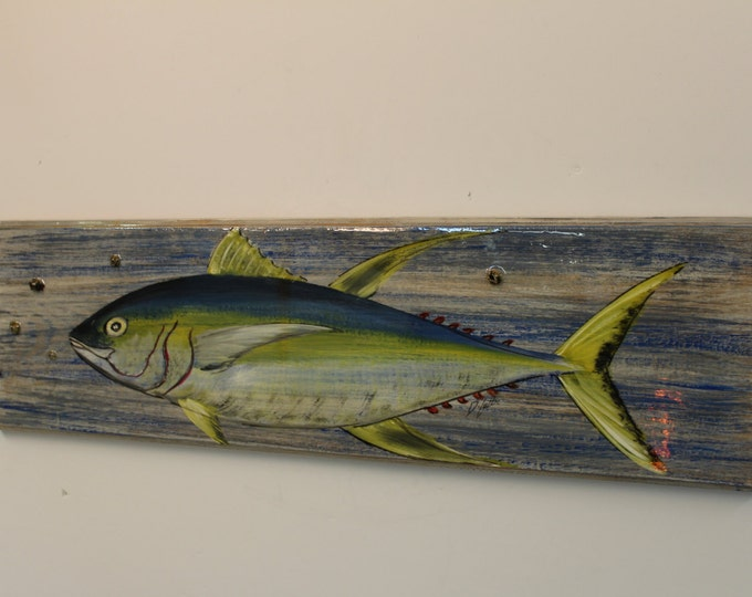 Yellowfin Tuna - handpainted tuna on distressed look cypress plank with real barnacles sealed into finish.