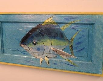 Yellow Fin Tuna - Handpainted Tuna on reclaimed solid wood door.