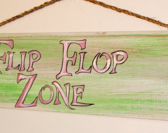 Flip Flop Zone - cypress wood sign with rope hanger