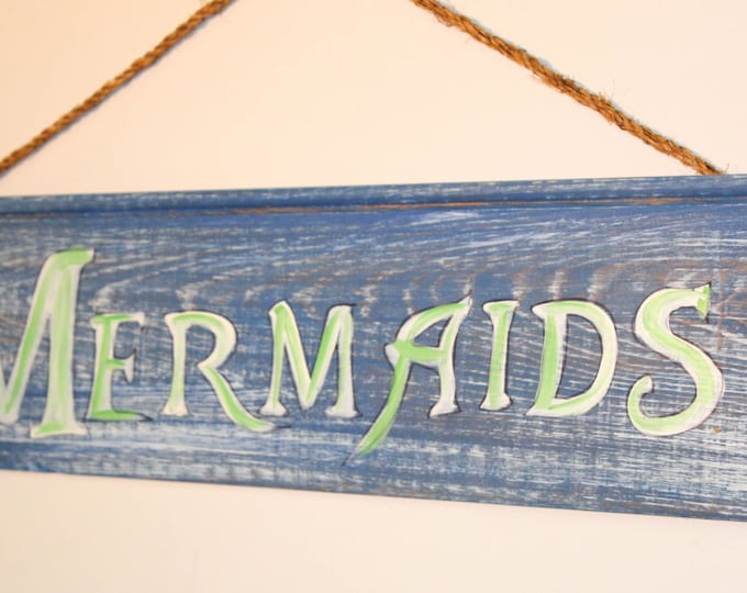 Mermaids - handpainted cypress wood sign with rope hanger