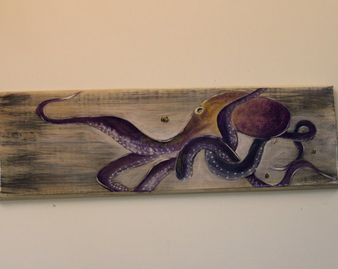 OCTOPUS - Handpainted octopus on cypress plank with high gloss coating.