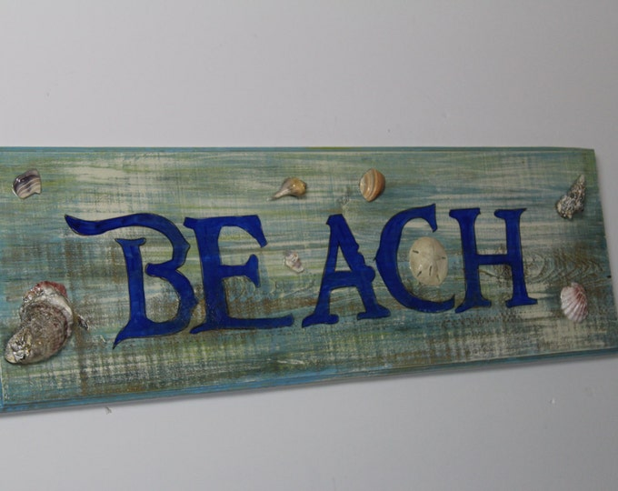 BEACH - handpainted beach house sign with real seashells and sand dollar on cypress wood with high gloss finish.