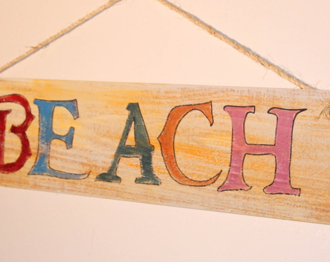 Beach - cypress wood sign with rope hanger