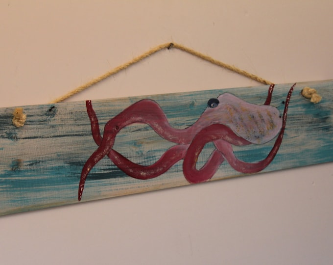 "OCTOPUS - Handpainted ""Octopus"" on distressed cypress wood plank."