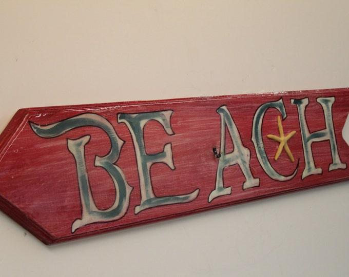 Beach Arrow Sign - directional arrow sing handpainted on cypress wood